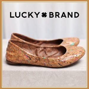 Lucky Brand Comfy Tan Ballet Flats / sz. 6.5 EUC